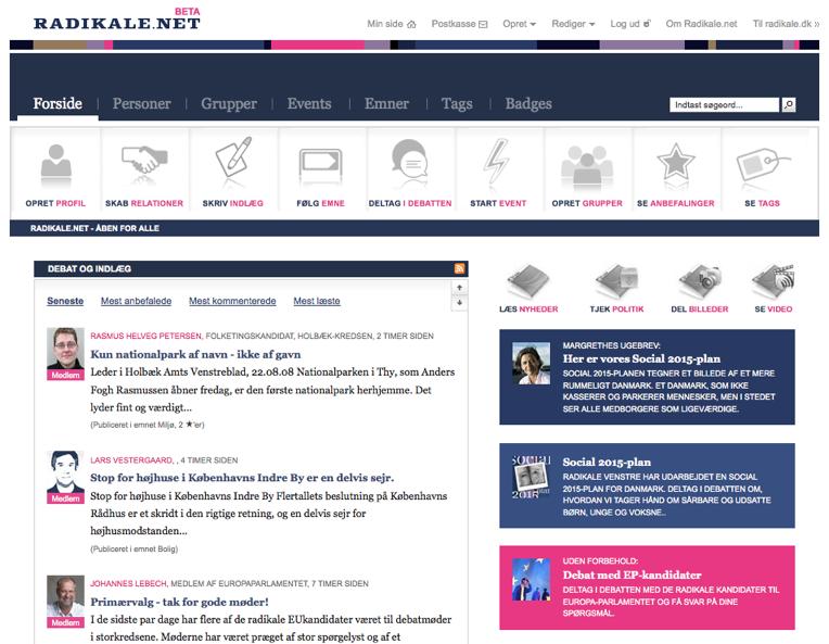 Forsiden på radikale.net