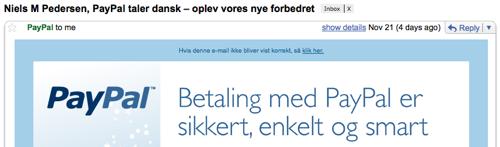PayPal taler næsten dansk